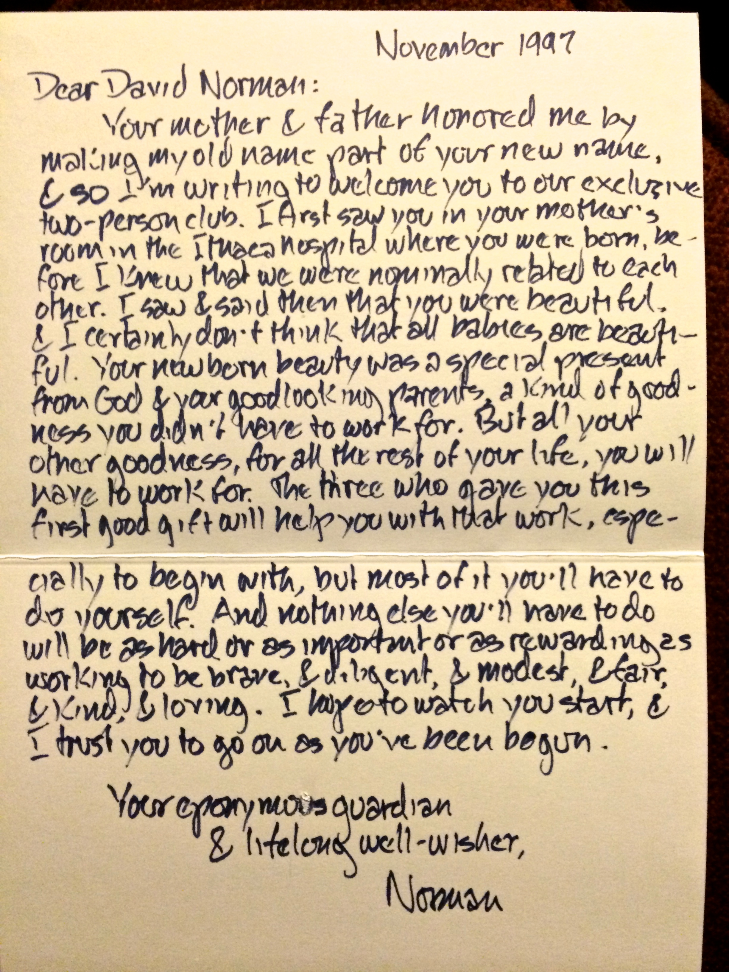 Norman's letter